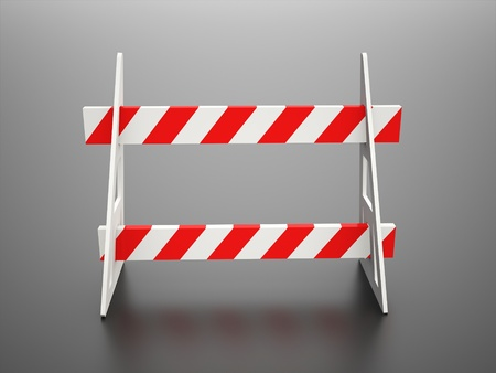 Road block barrier on black background photo