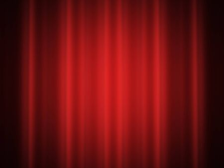 Satin curtain on red color Stock Photo