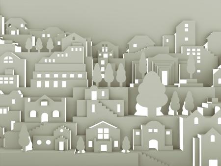 都市抽象を紙で