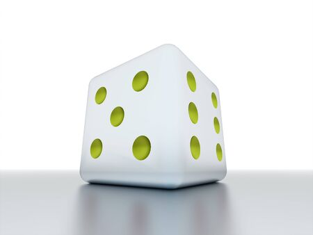 One dice with green dots rendered