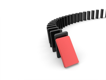 Domino effect concept one is red on white background Reklamní fotografie - 19937383