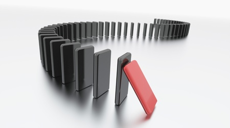 domino effect: Domino effect rendered on white isolated Stock Photo