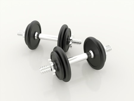 Dumbbells isolated on white background rendered photo