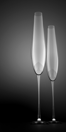 Two champagne glasses on black background photo