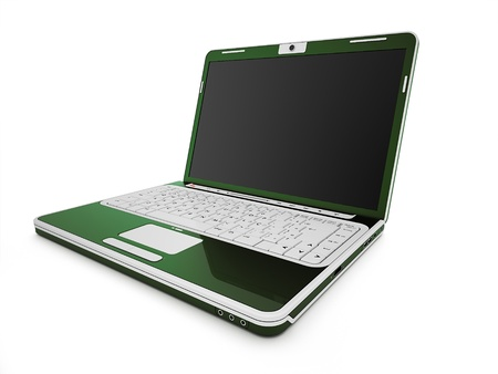 Green laptop isolated on white background photo