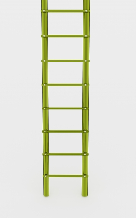 clambering: Green ladder on white background