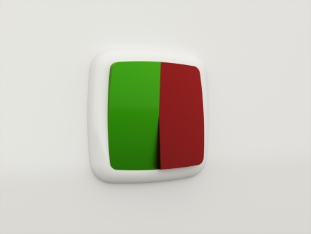 push room: Switches one red and one green Stock Photo