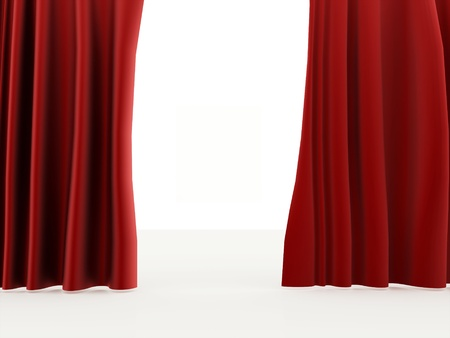 red curtain: Curtain red on white background