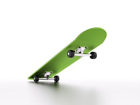 Skateboard with shadow in green colour
