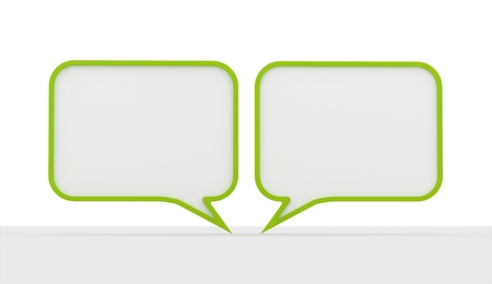 Green speech bubbles dialog on white background photo