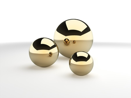 Three gold spheres rendered photo