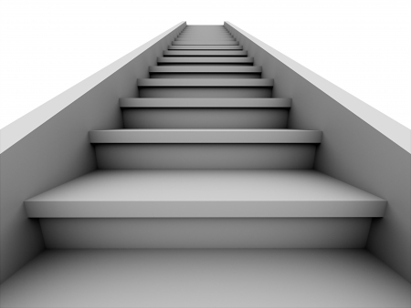 Stairs rendered on white background photo