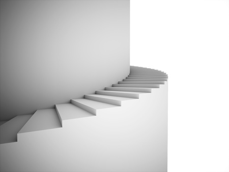 Spiral stairs rendered on black and white
