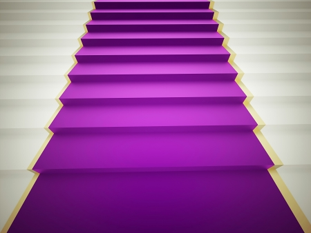 Purple carpet on stairs