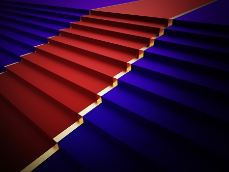 Blue stairs with red carped