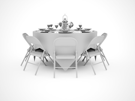 Dinner table celebration isolated on white Stock Photo