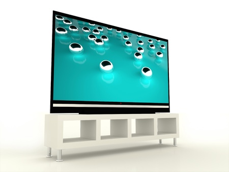 Plasma TV with beautiful tirkis screen Stock Photo - 20003633