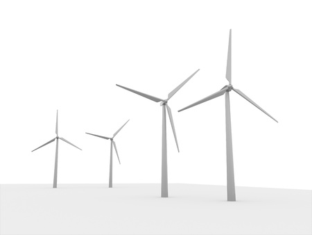 Windmills rendered isolated on white background Reklamní fotografie