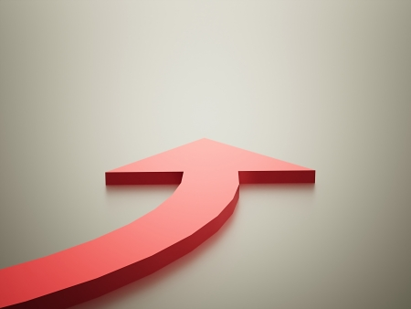 Red arrow on curve photo