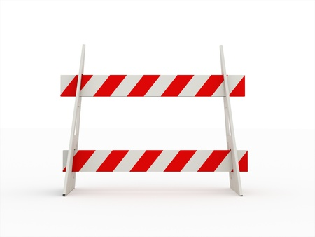 Road barrier red isolated on white background photo