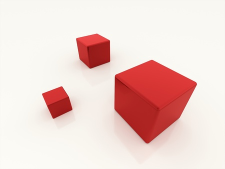 Three red cubes isolated on white background photo