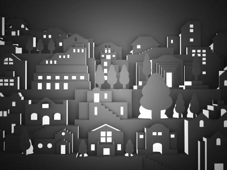夜の暗い街の紙から