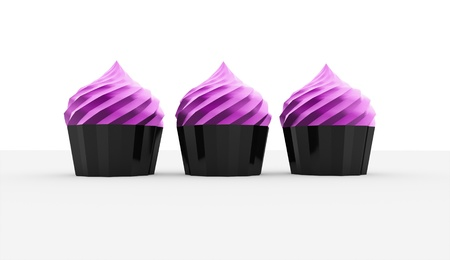 Three cakes isolated on white background photo