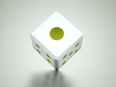 Dice cube with reflection Stock Photo