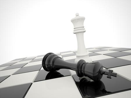 tablero de ajedrez: Ajedrez victoria blanca es ganador Foto de archivo
