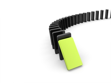 domino effect: Domino effect one is green on white background