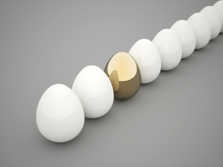 Eggs white one gold rendered photo