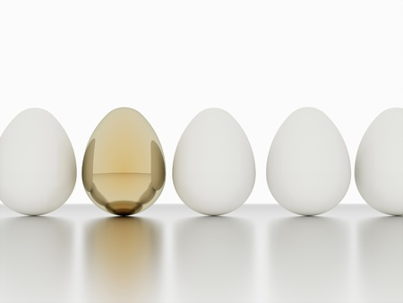 Eggs one gold render Stock Photo - 20023326