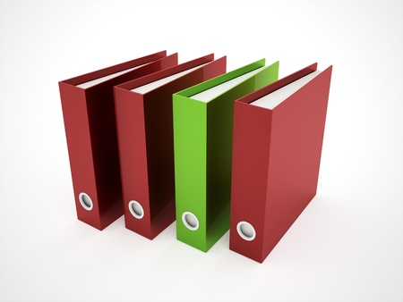 linguist: Exercise book red and green isolated on white background Stock Photo