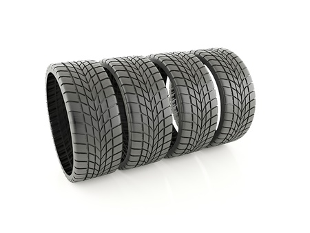 winter tires: Four winter tires isolated on white background