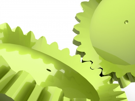 Green two gears concept on white background photo