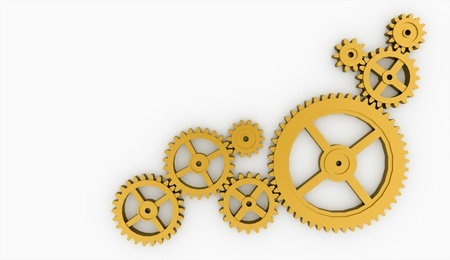 Few gold gears isolated on white background Stock Photo
