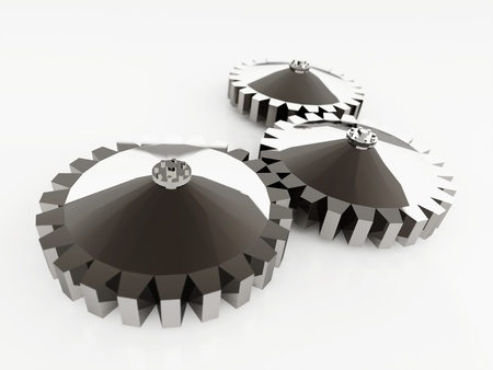 Three chrome gears isolated on white background photo