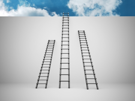 Three ladders on the wall with blue sky photo