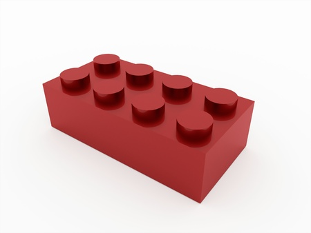 Toy brick red isolated on white background