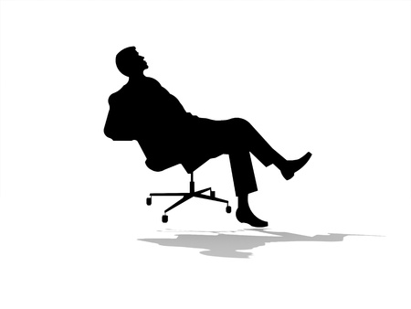 Man on chair isolated on white background photo