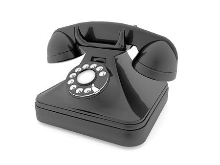 Old phone black isolated on white background Stock Photo - 20023350