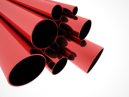 Red pipe concept on white background photo