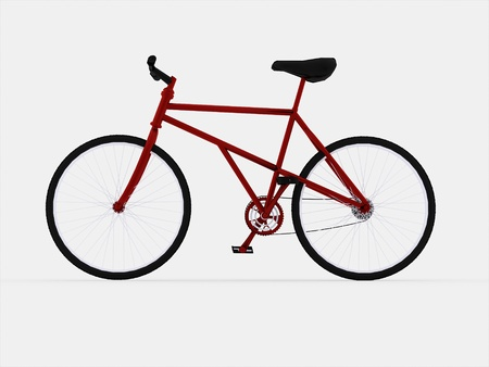 Red bicycle isolated on white background rendered photo