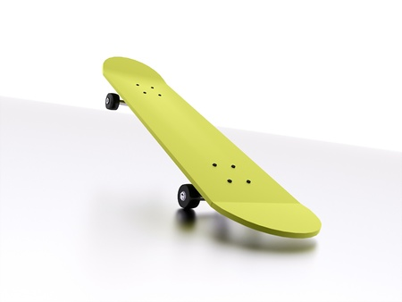 Yellow skateboard isolated with reflection