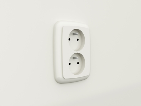 Electric socket rendered black and white photo