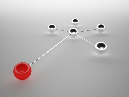 Abstract network with spheres, one is red photo