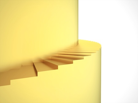 Gold stairs rendered on white background photo