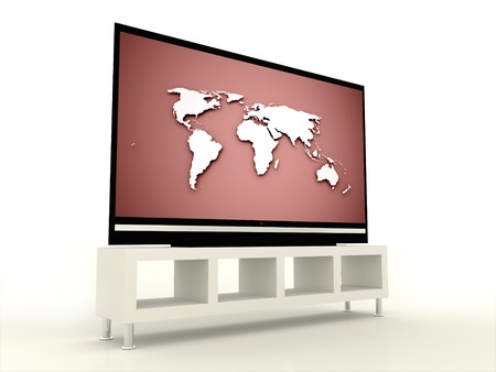Plasma TV with red screen  photo