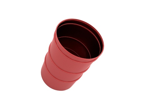 Red barrel rendered and isolated on white background photo