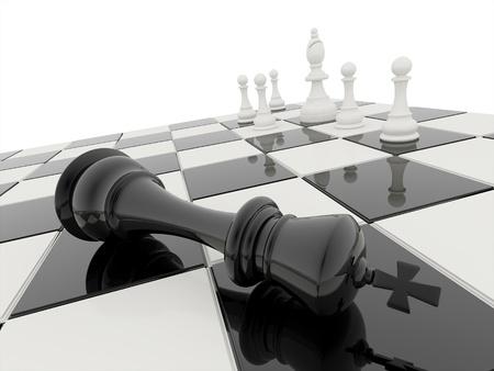 チェス白と黒と白は勝者